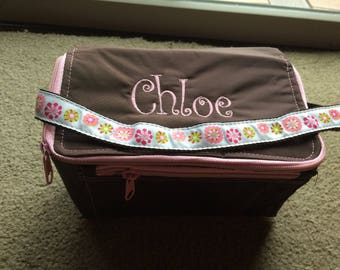 Sample Sale AS IS Brown with light pink trim Lunch tote bag box -Monogrammed with Chloe---Ready to ship Immediately