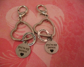 2 Friends Youre My Person Keychains Accessories Gift Purse Charms