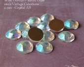 ON SALE Vintage Cabochons  - 11 mm Crystal AB Aurora Borealis - 6 West German Faceted Glass Stones