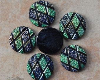 Vintage Glass Cabochons - 18mm Round - Black with Mint Green and Indigo Blue Geometric Pattern, Argyle Diamond Shapes (4 pc)