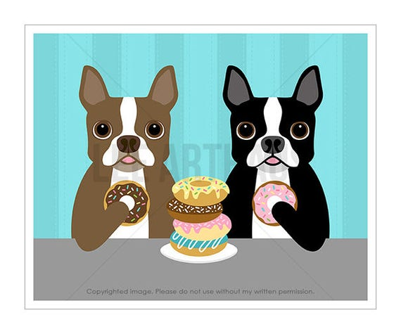 215D Funny Dog Art - Two Boston Terrier Dogs Eating a Stack of Donuts Wall Art Print- Brown and White Boston Terrier Art - Dog Lover Gift