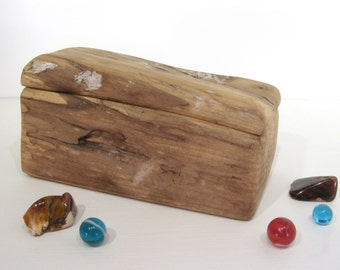 Maple Driftwood Box, jewelry box, necklace box, earring box, small urn, bracelet box, wood art, small valet box, office desk organizer