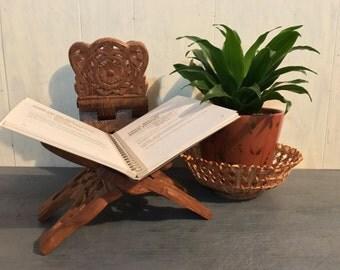 vintage book stand - India teakwood book holder - bohemian kitchen - boho office decor
