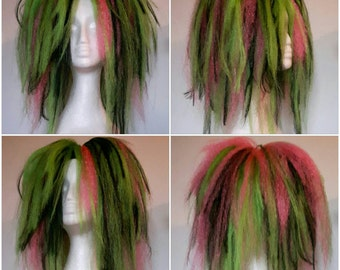 Neon green, pink and black hair falls! Tie over hair buns for instant head turning hair!