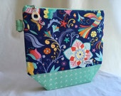 Blue Floral Knitting/Project Bag