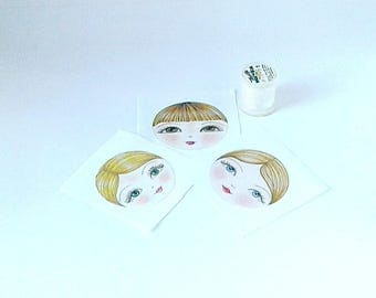Fabric Doll Face (pack of 3), Doll Making Fabric, Applique doll face, Textile Doll Face, Make a Doll