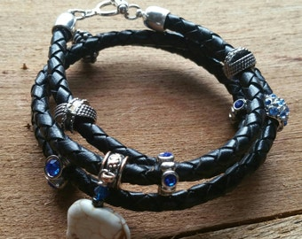 Black leather braided wrap-around beaded good luck elephant  bracelet.