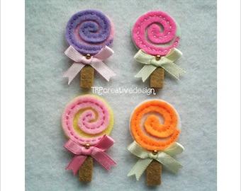 Lollipop Felt Applique, feltie, felties, handmade felty embellishment supply, hairclip, hair bow, assessories, scrapbooking, wholesale, bulk