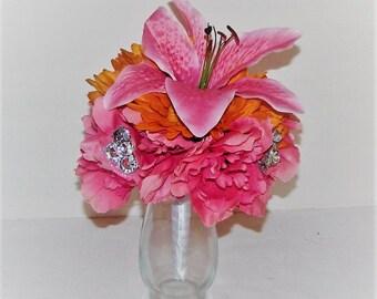 Wedding centerpiece peony and Gerbera daisy flowers with rhinestones wedding flower arrangement wedding arrangement silk flower centerpiece