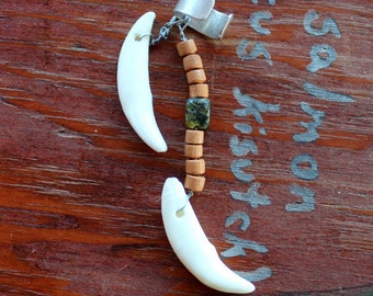 Fancy ear cuff - two real coyote fangs, wood and stone beads on silver-plated brass ear cuff