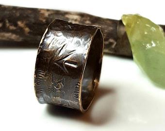 Onward Warrior Ring, Unisex, Rustic Brass, Timeworn Relic Arrow Thumb Ring, Men's Ring, Women's Ring, Wide Band, Black Brown, Free Spirit