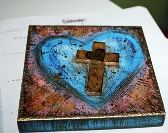 Memorial Sale 30% off off at checkout - First Communion Heart with Cross -  Original Painting on Wood by FLOR LARIOS (5 x 5 inches)