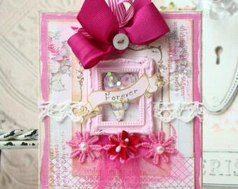 Forever Shabby Chic Handmade Card -Valentine's Day Card - Valentine - Valentine's Day - Love Card - Greeting Card