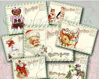 SALE CHRISTMAS POSTCARDS Collage Digital Images -printable download file-