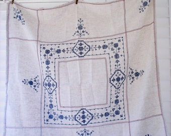 Elegant linen tablecloth - exquisitely cross stitched - 50 x 50