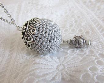 Silver crochet ball pendant necklace large crochet bead