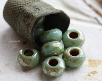 SILVERED TURQUOISE ROLLERS .. 10 Premium Czech Glass Large Hole Roller Beads 6x9mm (5698-10)