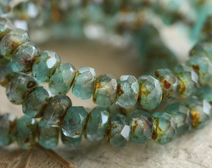 SEA FOAM BITS No.2 .. 30 Czech Picasso Beads, Rondelle Glass Beads 3x5mm (B58-st)