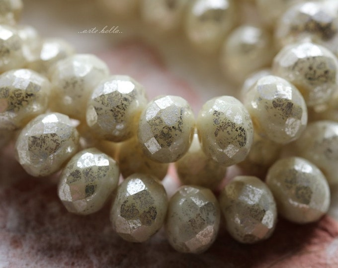 SILVERED IVORY No. 2 .. 10 Picasso Czech Rondelle Glass Beads 7x5mm (5621-10)
