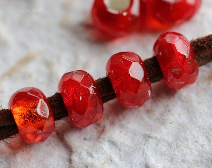 GLOWING EMBERS .. NEW 10 Premium Czech Glass Large Hole Roller Beads 6x9mm (5766-10)
