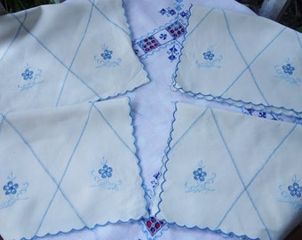 4 art deco blue embroidered mats/tray cloths 11x16 inches