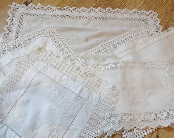 collection of vintage lace edge mats