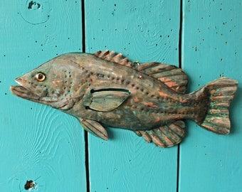 Largemouth Bass- copper metal freshwater gamefish fish art sculpture - wall hanging - turquoise blue-green and salmon-pink patinas - OOAK