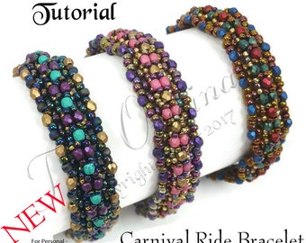KR039 TUTORIAL -Carnival Ride - Color Kit - Instructions Included, Beadweaving Pattern Instructions