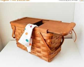 Sale Picnic Basket Vintage Picnic Basket Wooden Hamper Wooden Picnic Basket