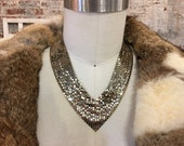 vintage silver tone metal mesh V neck necklace