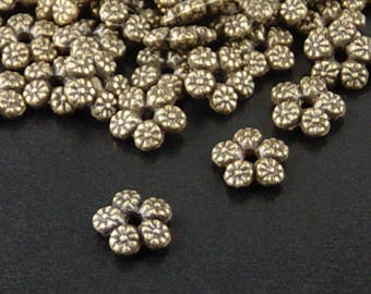 Bead Spacer 50 Star Bead Antique Bronze 5-Petal Flower 7mm NF (1101spa07z1)