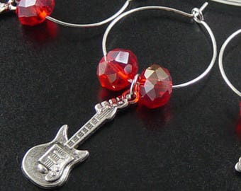 Wine Charms 6 Silver ROCK STAR Musical Instruments Music Star Guitar Red Beads Stemware Glass Gifts Wedding Favors (1010win20s4)