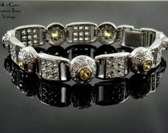 Silver Bracelet Yellow Citrine and Crystal Rhinestone Glass Stones XL Length 925 GM