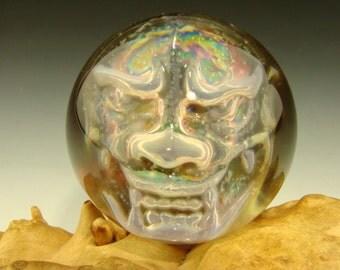 Phantom Japanese Oni Glass Art Marble by ELLY 3/D Orb Silver Troll Goblin VGW (Ready to Ship)