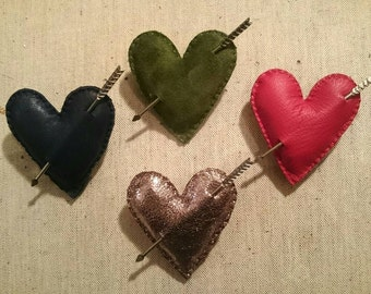 Green Suede Leather Heart and Cupid Arrow Brooch