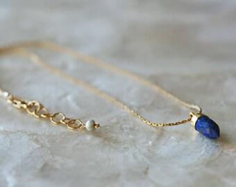 Lapis Choker Necklace, Lapis Layering Necklace, Lapis Short Necklace, Lapis Spike, Lapis Spike Pendant, Blue Stone Necklace