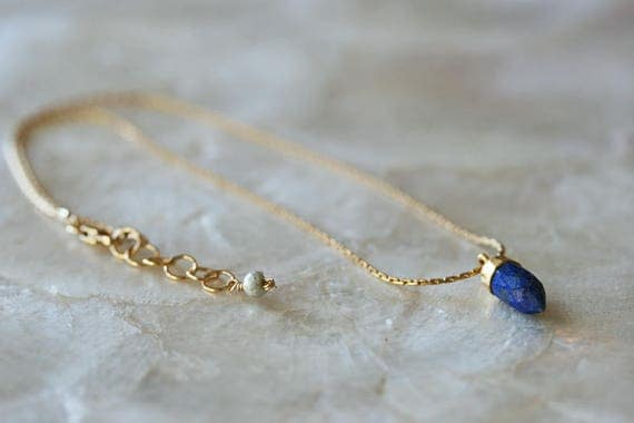 Lapis Choker Necklace, Lapis Layering Necklace, Lapis Short Necklace, Lapis Spike, Lapis Spike Pendant, Blue Stone Necklace