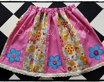 Girls Pink and White Polka Dot Mushroom Panel Skirt