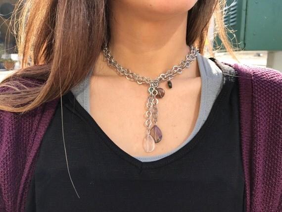 Urban Necklace/ Semiprecious Stones/ Labradorite /Smoky Quartz,Rose Quartz,Rock Crystal/ Pewter Chain / Multy Way Necklace / Isea Designs