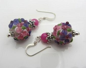 Lampwork Earrings Pink and Purple Flower Earrings Glass Bead Earrings Dangle Drop Earrings SRAJD USA Handmade
