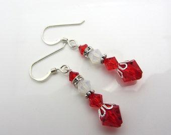 Mrs Claus Earrings Swarovski Crystal Earrings Christmas Earrings Dangle Earrings Christmas Jewelry Red and White Earrings SRAJD USA Handmade