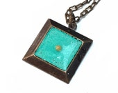 Mustard Seed Pendant Bright Turquoise necklace