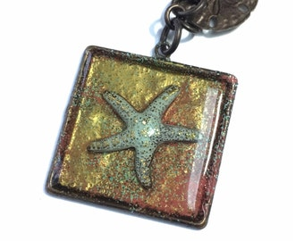 Red and gold Starfish necklace, Beach lover necklace, brass sun charm