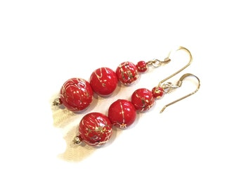 SALE Red and Gold Party Earrings