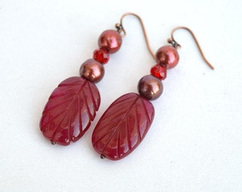 Real rubies and pearls earrings Burgundy red earrings Red leaf earrings Floral earrings with real rubies and freshwater pearls E1192