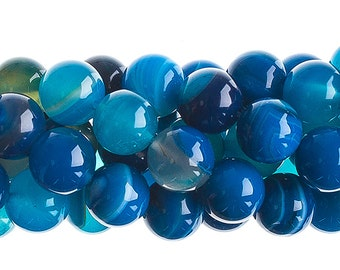 10 Pieces Natural Semi Precious Blue Agate Stone Dyed - Round (603)