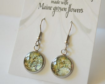 Seasons of Maine: Spring Collection-Flower Petal Earrings made with Maine Grown Flowers-Made in Maine Jewelry-Maine nature inspired jewelry