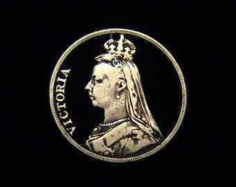 Great Britain - LARGE - cut coin pendant - Queen Victoria - 1889 - SILVER