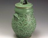 Carved Elm Leaf Green Jar