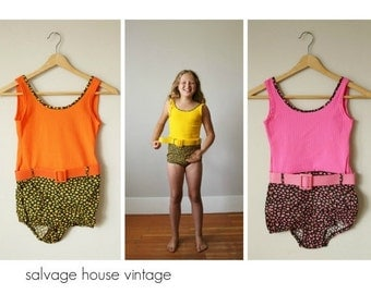 ON SALE NOS 1960s Floral Belted Swimsuits >>> Size 8/10 or 10/12